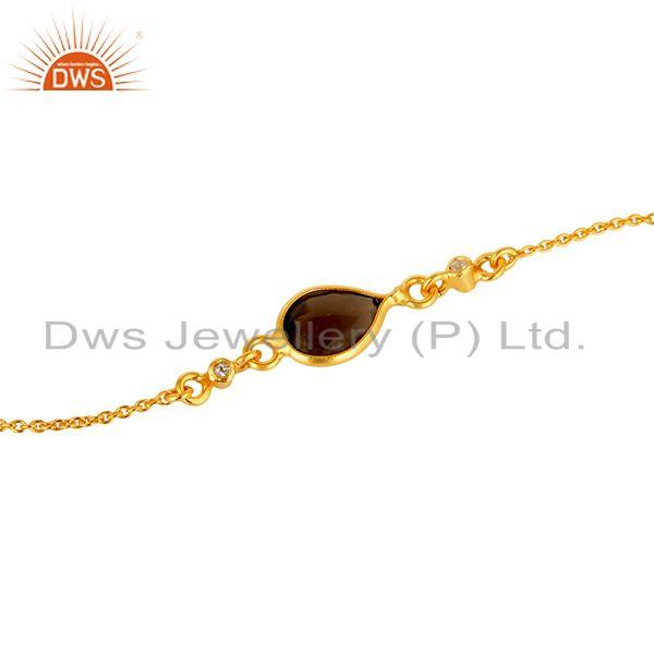 Exporter 18K Yellow Gold Plated Sterling Silver White Topaz And Smoky Quartz Bracelet