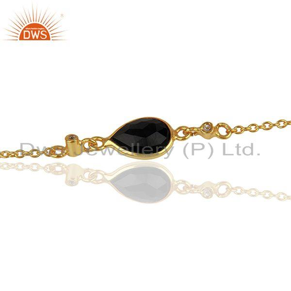 Exporter 14K Yellow Gold Plated Sterling Silver Black Onyx And White Topaz Chain Bracelet