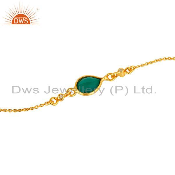 Exporter 18K Yellow Gold Plated Sterling Silver Green Onyx And White Topaz Chain Bracelet