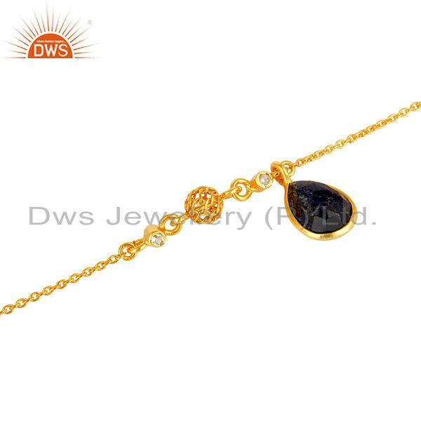 Exporter 18K Yellow Gold Plated Sterling Silver Blue Sapphire And White Topaz Bracelet