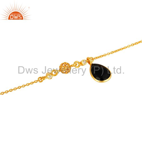 Exporter 18K Gold Plated Sterling Silver White Topaz And Black Onyx Charms Bracelet