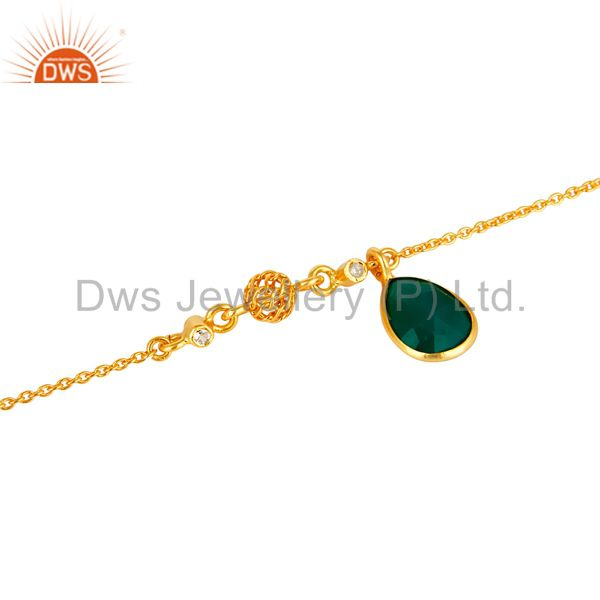 Exporter 18K Yellow Gold Plated Sterling Silver Green Onyx And White Topaz Bracelet