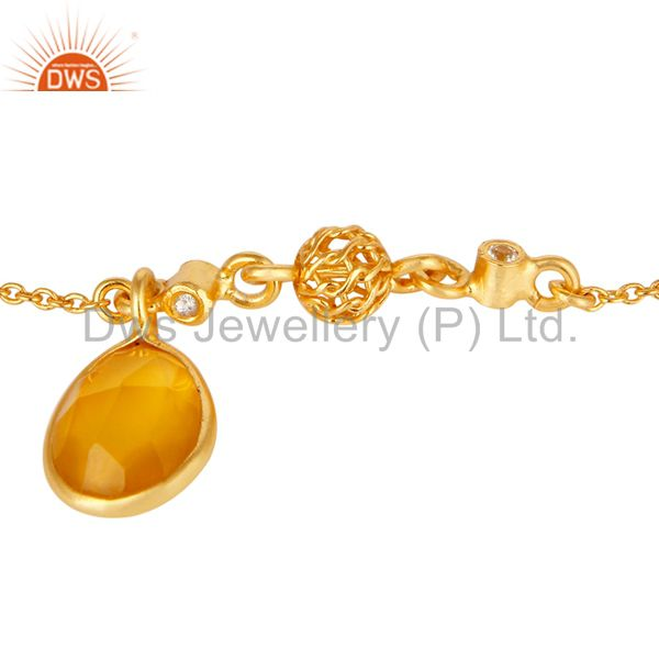 Exporter 18K Yellow Gold Plated Sterling Silver Yellow Chalcedony White Topaz Bracelet