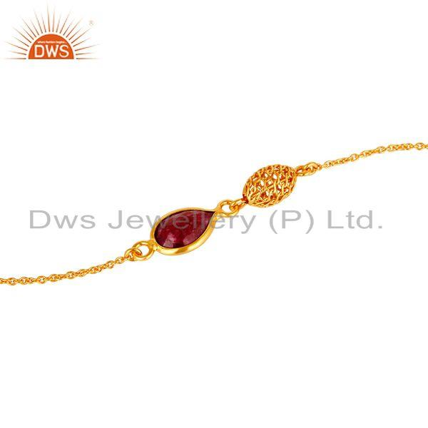Exporter 18K Yellow Gold Plated Sterling Silver Natural Ruby Designer Chain Bracelet