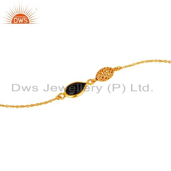 Exporter 18K Yellow Gold Plated Sterling Silver Black Onyx Designer Chain Bracelet