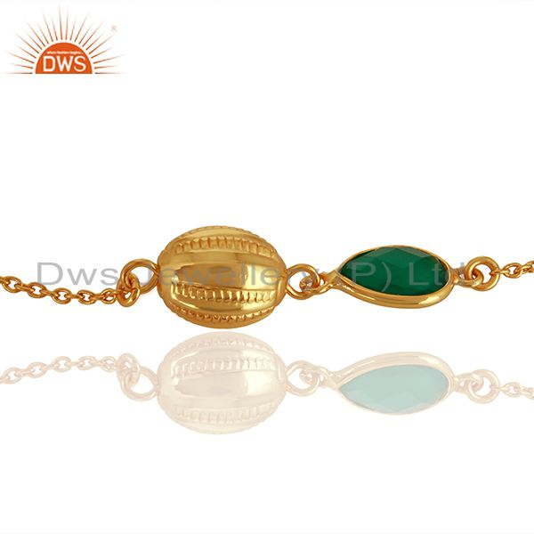 Exporter 14K Yellow Gold Plated Sterling Silver Green Onyx Designer Chain Bracelet