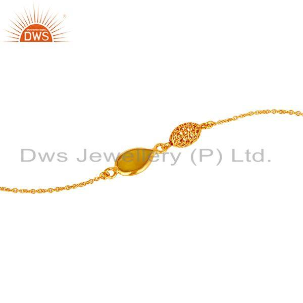 Exporter 18K Yellow Gold Plated Sterling Silver Yellow Chalcedony Designer Chain Bracelet