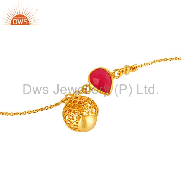 Exporter 18K Yellow Gold Plated Sterling Silver Spheres Charm Pink Chalcedony Bracelet