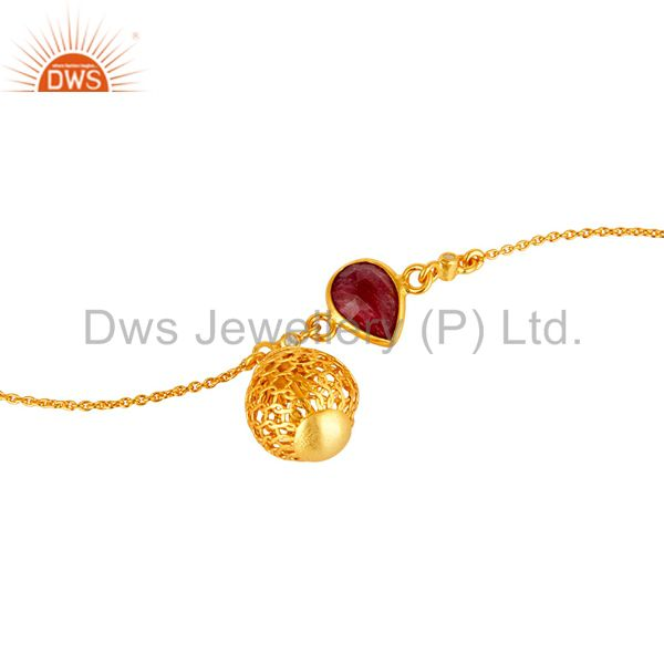 Exporter 18K Yellow Gold Plated Sterling Silver Ruby And White Topaz Ball Chain Bracelet