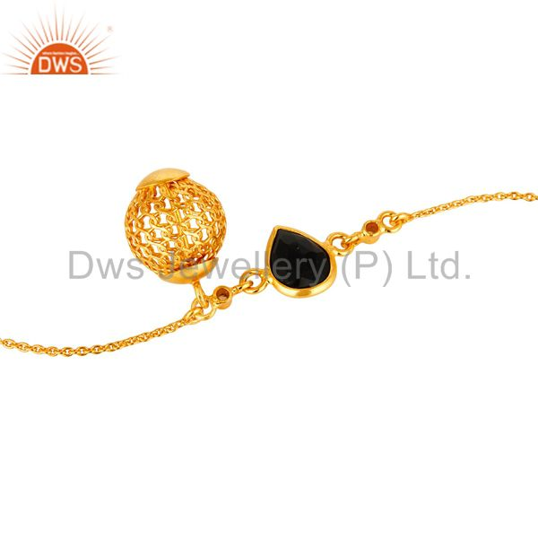 Exporter 14K Yellow Gold Plated Sterling Silver Black Onyx And White Topaz Bracelet