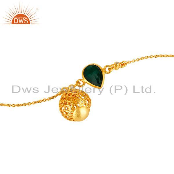 Exporter 14K Yellow Gold Plated Sterling Silver Green Onyx And White Topaz Chain Bracelet