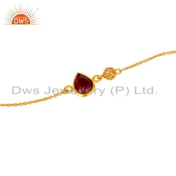 Exporter 14K Yellow Gold Plated Sterling Silver Ruby Gemstone Designer Chain Bracelet