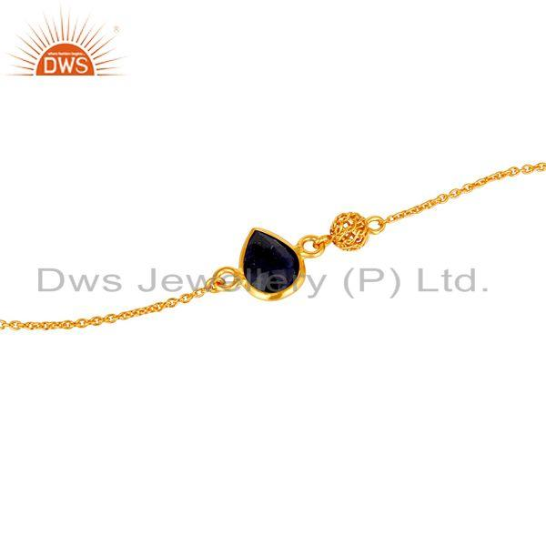 Exporter 14K Yellow Gold Plated Sterling Silver Blue Sapphire Gemstone Designer Bracelet