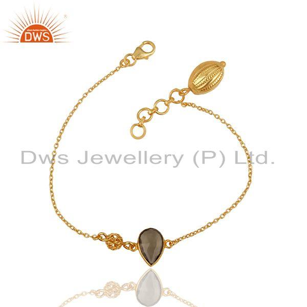 Exporter 14K Yellow Gold Plated Sterling Silver Smoky Quartz Gemstone Designer Bracelet