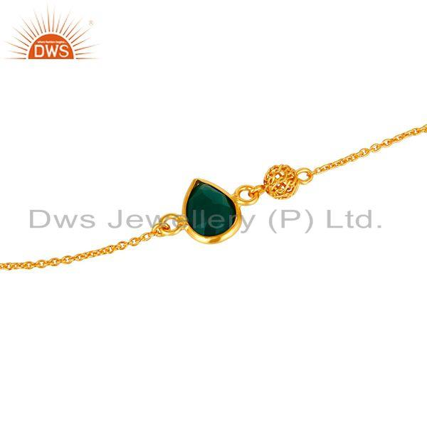 Exporter 22K Yellow Gold Plated Sterling Silver Green Onyx Designer Chain Bracelet