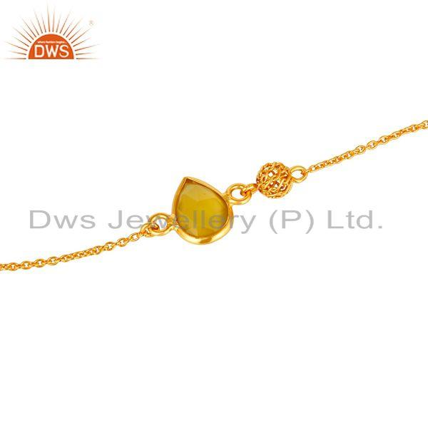 Exporter 14K Yellow Gold Plated Sterling Silver Yellow Chalcedony Designer Chain Bracelet