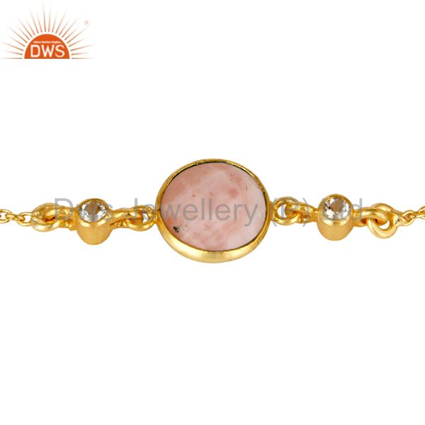 Exporter 14K Yellow Gold Plated Sterling Silver Pink Opal And White Topaz Chain Bracelet