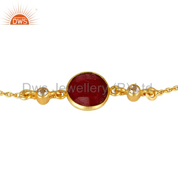 Exporter 14K Yellow Gold Plated Sterling Silver Ruby And White Topaz Gemstone  Bracelet