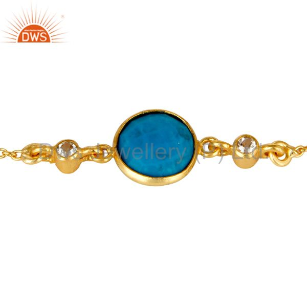 Exporter 14K Yellow Gold Plated Sterling Silver Turquoise And White Topaz Chain Bracelet