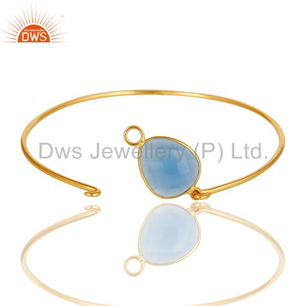 Supplier of Chalcedony gemstone 18k gold over sterling silver openable bangle