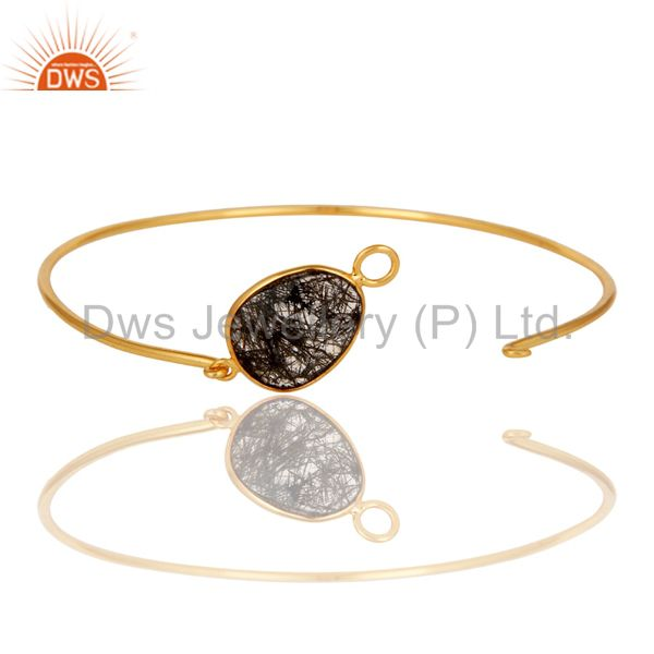 Supplier of Black rutile 18k gold plated sterling silver openable bangle