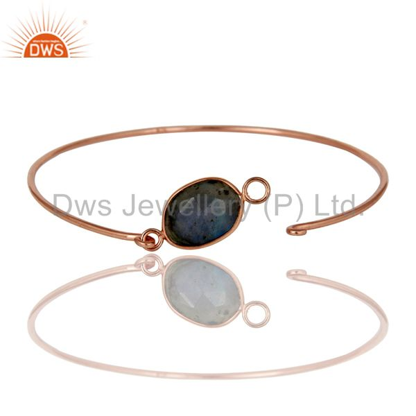Supplier of Labradorite 18k gold plated sterling silver openable bangle