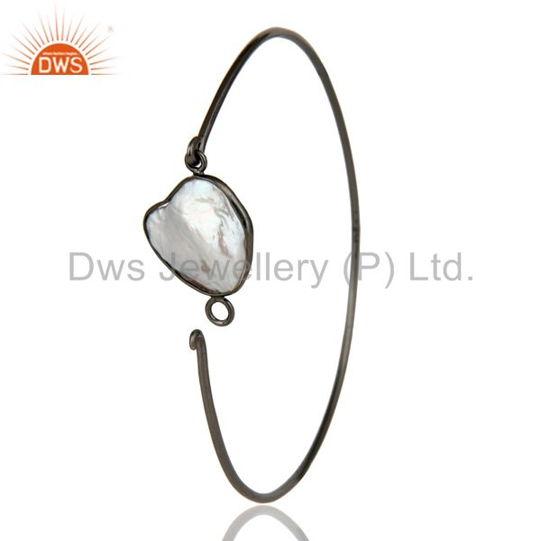 Supplier of Natural white pearl silver black oxidized handmade openable bangle