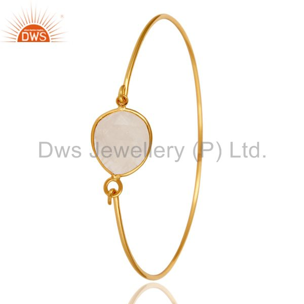 Supplier of Rainbow moonstone 925 silver gold over handmade openable bangle
