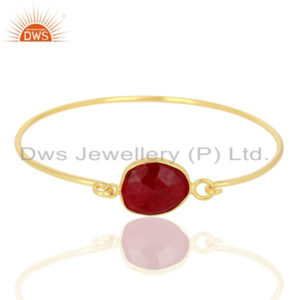 Exporter Ruby Corundum Sterling Silver Gold Plated Handmade Openable Bangle