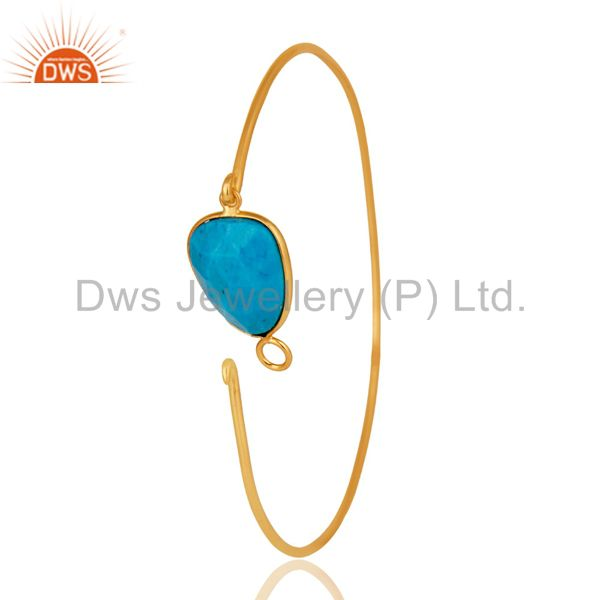 Supplier of Turquoise matrix sterling silver gold over handmade openable bangle
