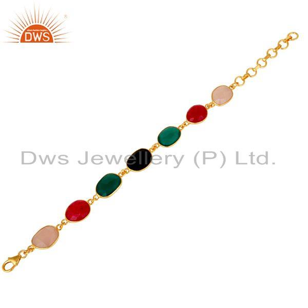 Exporter Aventurine Onyx and Chalcedony Multi Color Handmade Gold Plated Silver Bracelet