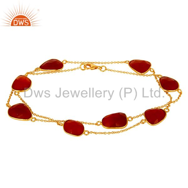 Exporter 18K Gold Plated Sterling Silver and Red Onyx Handmade Bracelet