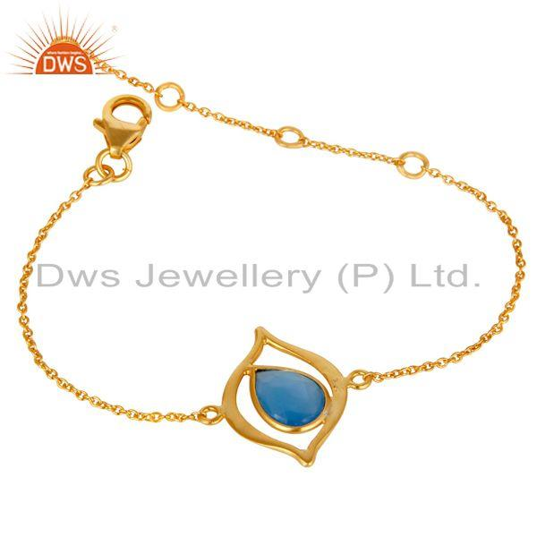 Exporter 18K Yellow Gold Plated 925 Silver Blue Chalcedony Gemstone Bracelet