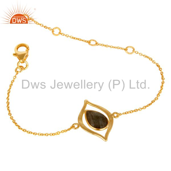Exporter 18 Carat Yellow Gold Plated Solid Sterling Silver Labrodorite Chain Bracelet