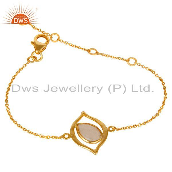 Exporter 18k Yellow Gold Plated Sterling Silver Jewelry Rainbow Moonstone Bracelet
