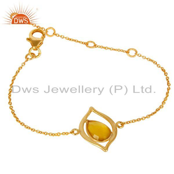 Exporter 18K Yellow Gold Plated 925 Silver Yellow Chalcedony Gemstone Bracelet