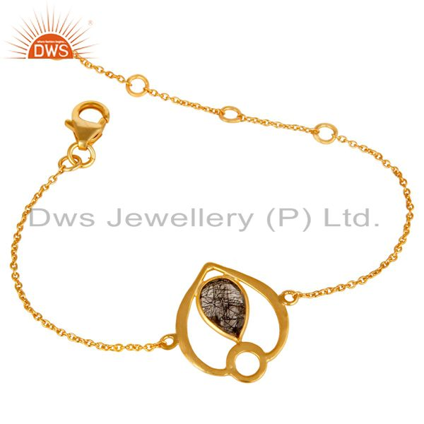 Exporter 18K Yellow Gold Plated Sterling Silver Black Rutile Gemstone Bracelet