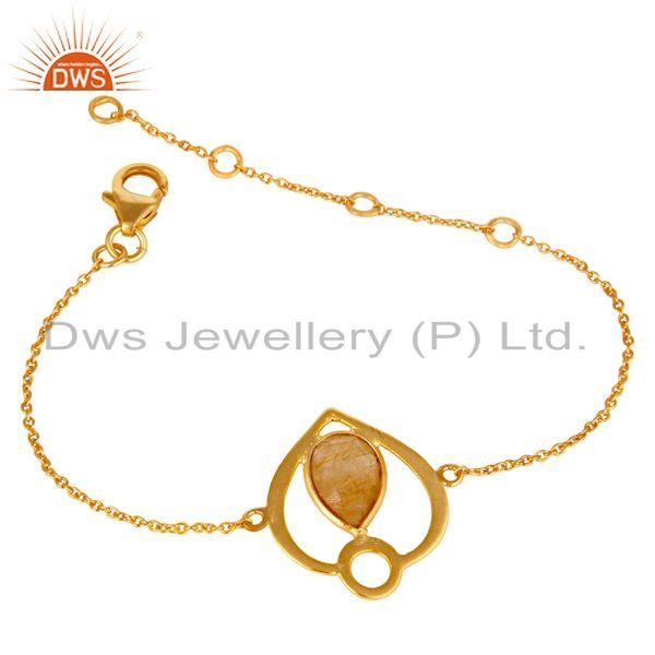 Exporter 18K Yellow Gold Plated Sterling Silver Yellow Rutile Gemstone Bracelet