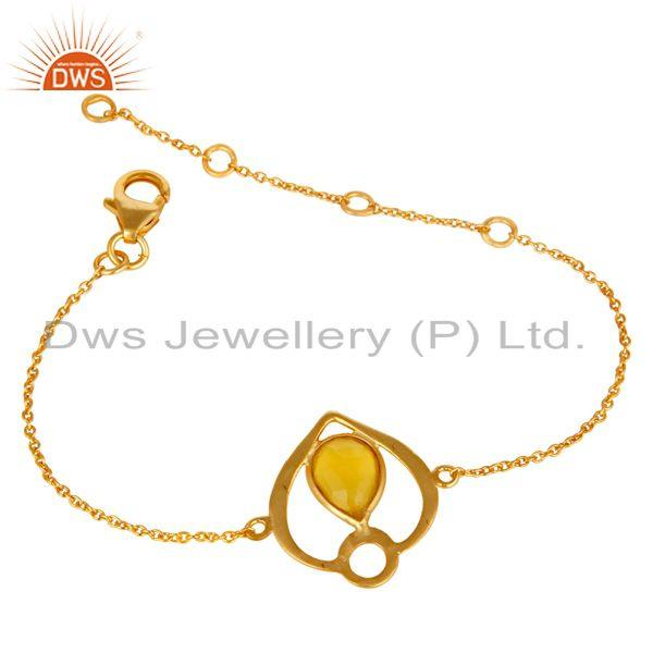 Exporter 18K Yellow Gold Plated Sterling Silver Yellow Chalcedony Gemstone Bracelet