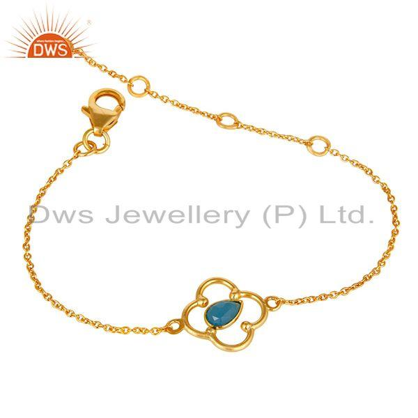 Exporter Blue Chalcedony 18K Yellow Gold Plated Sterling Silver Gemstone Bracelet