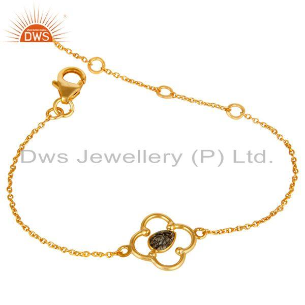 Exporter Black Rutile 18K Yellow Gold Plated Sterling Silver Gemstone Bracelet