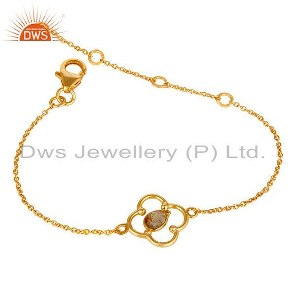 Exporter Yellow Rutile 18K Yellow Gold Plated Sterling Silver Gemstone Bracelet