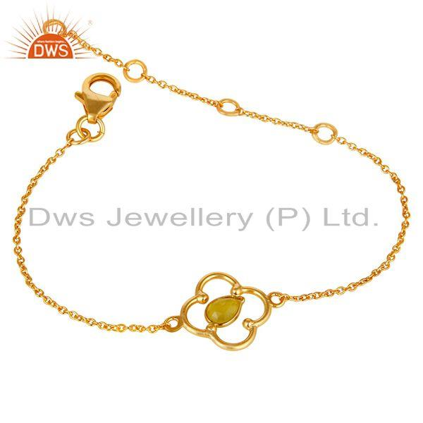 Exporter Yellow Chalcedony 18K Yellow Gold Plated Sterling Silver Gemstone Bracelet