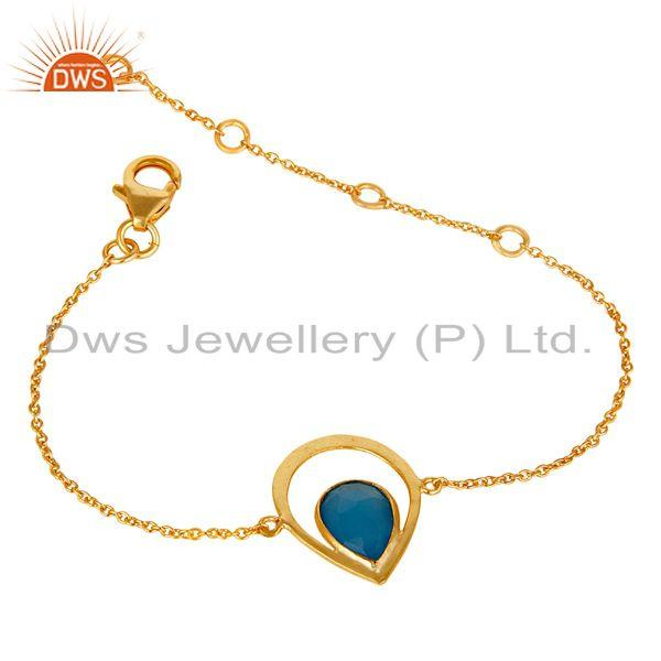 Exporter Blue Dyed Chalcedony 18K Yellow Gold Plated Sterling Silver Gemstone Bracelet