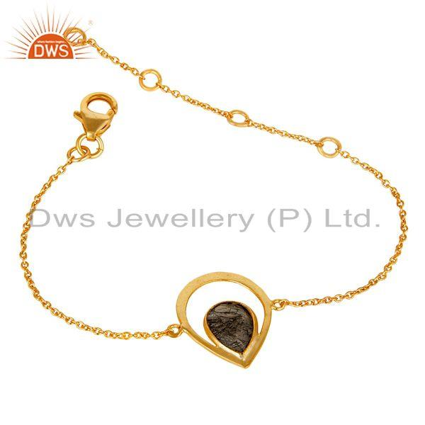 Exporter Black Rutile With 18K Yellow Gold Plated Sterling Silver Gemstone Bracelet