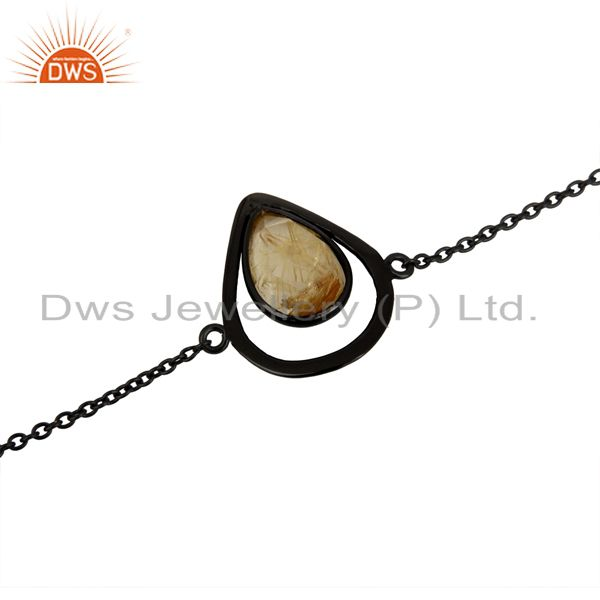 Exporter Rhodium Plated Silver Golden Rutile Gemstone Girls Bracelet Jewelry