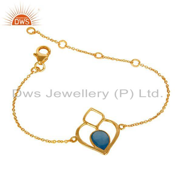 Exporter 18K Yellow Gold Plated Sterling Silver Gemstone Open Bracelet with Chalcedony