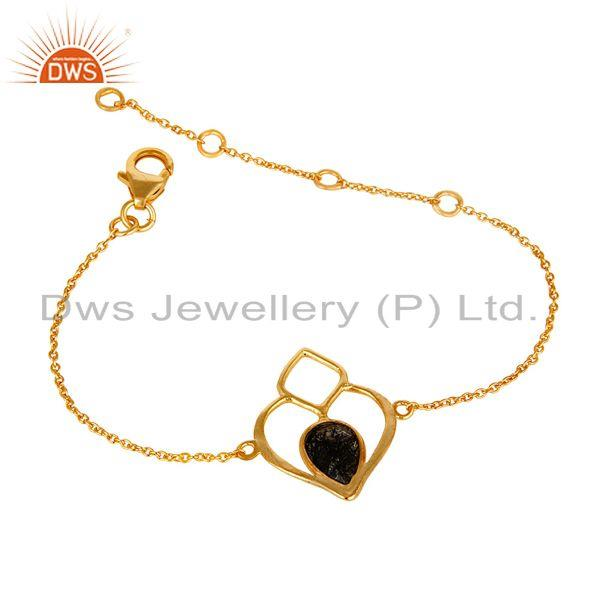 Exporter 18K Yellow Gold Plated Sterling Silver Handmade Open Bracelet with Black Routile
