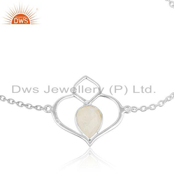 Designer dainty heart necklace in silver 925 and rainbow moonstone