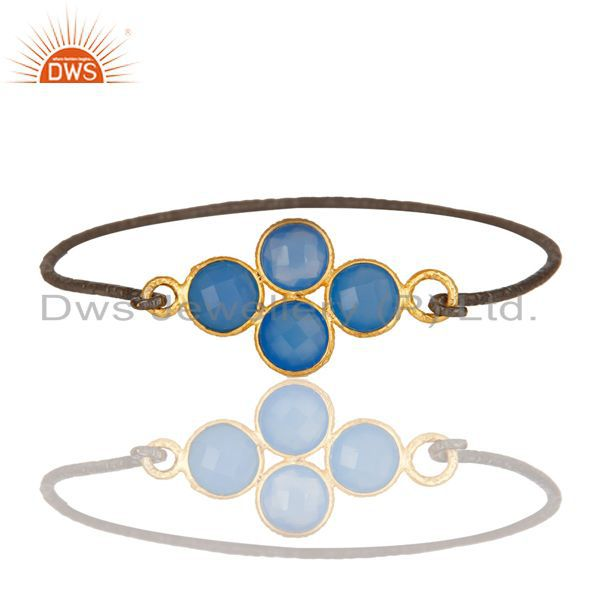 Supplier of 18k gold black oxidized 925 silver fashion dyed chalcedony bangle